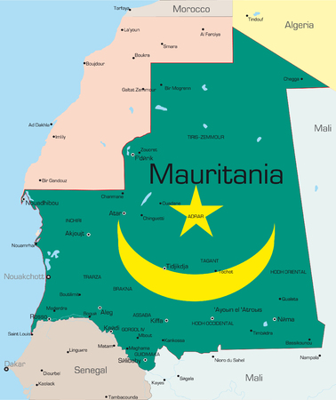 Abstract vector color map of Mauritania country colored by national flag Vector