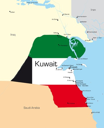 Abstract vector color map of Kuwait country colored by national flag Vector
