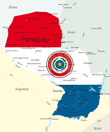 Abstract vector color map of Paraguay country colored by national flag   Vector