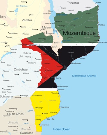 zaire: Abstract vector color map of Mozambique country colored by national flag