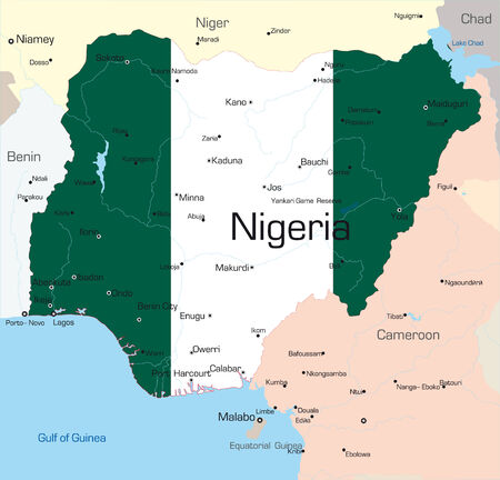 Abstract vector color map of Nigeria country colored by national flagr Vector