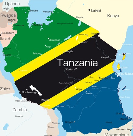 south african flag: Abstract vector color map of Tanzania country colored by national flag