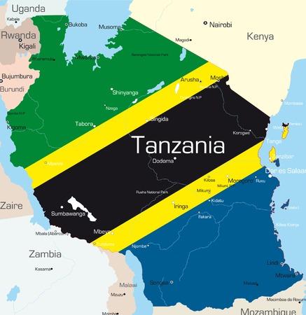 Abstract vector kleur kaart van Tanzania land gekleurd door nationale vlag