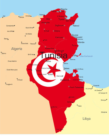 lybia: Abstract vector color map of Tunisia country colored by national flag