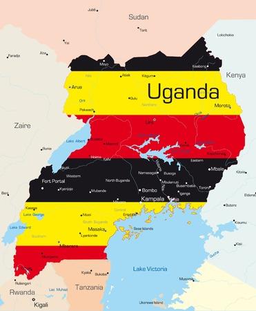 Abstract vector kleur kaart van Uganda land gekleurd door nationale vlag
