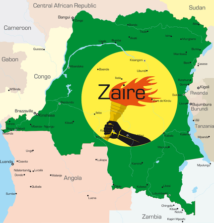 ngola: Abstract vector color map of Zaire country colored by national flagr