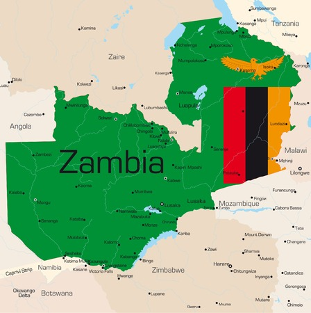 Abstract vector color map of Zambia country colored by national flagr Vector
