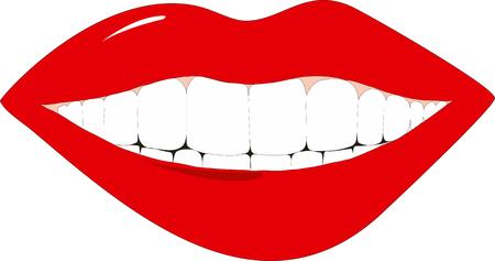 dientes caricatura: Resumen ilustraci�n vectorial de las mujeres sonrientes labios