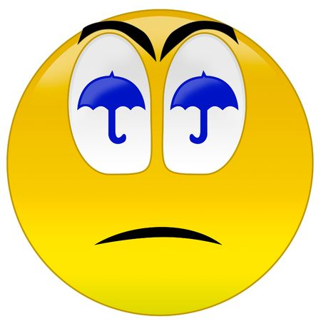 3d rendering  sad smiley because weather is bad Stock Photo - 3700902