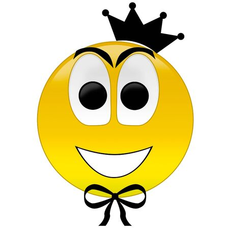 3d rendering happy smiley with crown and bow tie photo