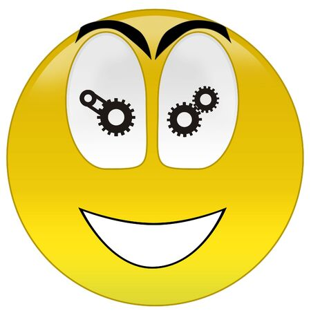 3d rendering happy smiley gear signs at eyes photo