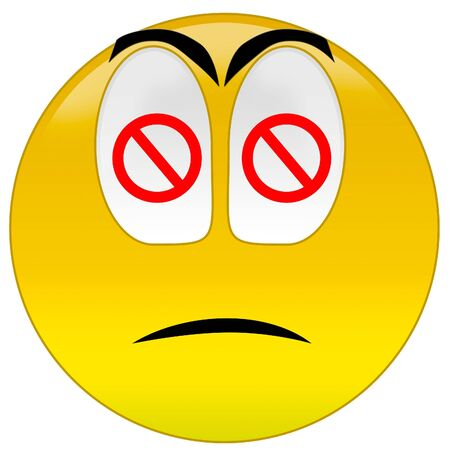 3d rendering sad smiley with restrictive signs at eyes Stock Photo - 3700908