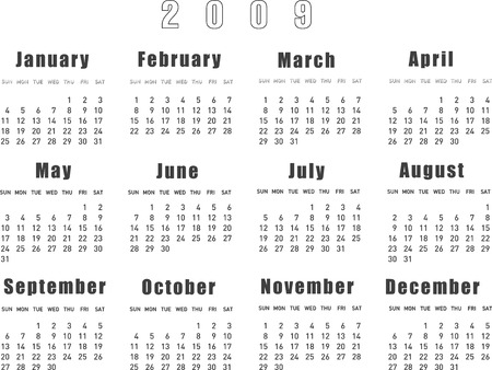 almanac: Vector Illustration of calendar 2009