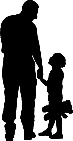 Vector illustration of daddy and child Vector