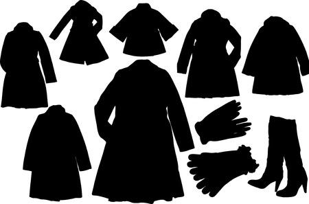 dress coat: Set di illustrazione di moda silhuettes  Vettoriali