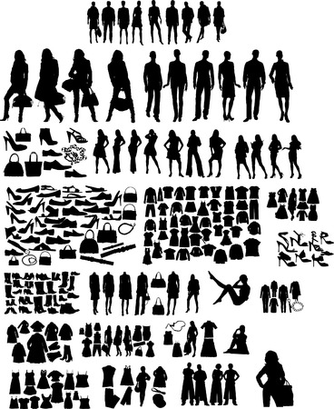 clothing shop: Illustration set of fashion  silhuettes Illustration