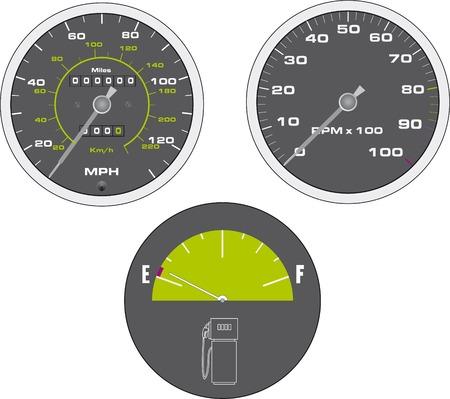 tacometro: Ilustraci�n vectorial de tac�metro y veloc�metro Vectores
