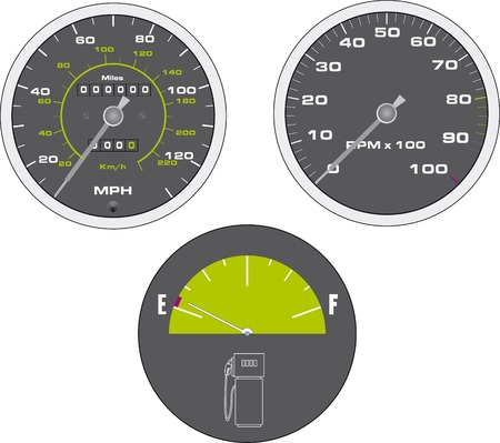 mph: Vector illustration of tachometer and speedometer
