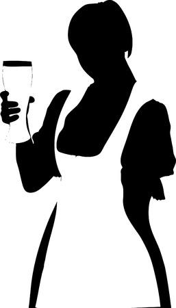 bartender: Vector illustration de serveuse � la bi�re