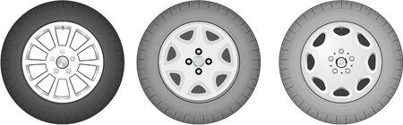 Vector illustration of three wheels Stock Vector - 3799873