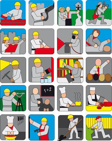 safety glasses: Vector color set of different people  Illustration