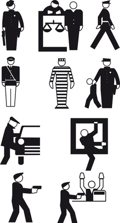 burglars: Vector illustrations of policeman and  the thief