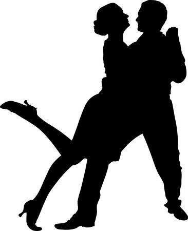 salsa dance: vector illustration of a couple dancing