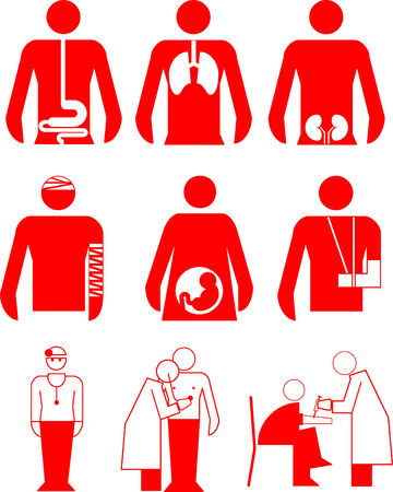 A set of  vector icons of hospital objects Vector
