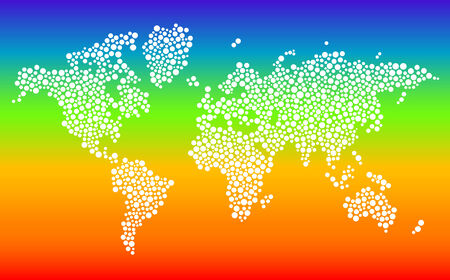 Stylized dotted world map in vector format on gradient background Vector