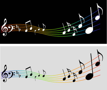 melodic: Abstract vector music background with notes Illustration