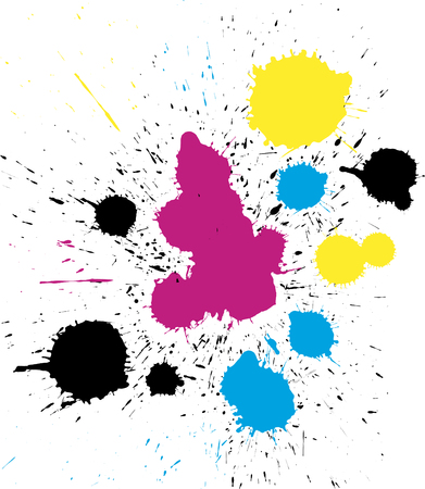 Abstract vector grungy colorful CMYK paint drops