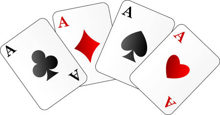 Abstract vector illustration of four aces on white Vector