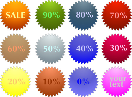 Abstract vector color sale tag stickers with discount  Vector