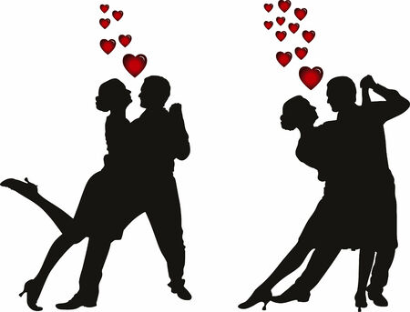 Abstract vector illustration of love couples silhouette Stock Vector - 3890582