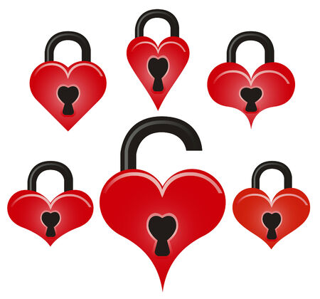 Abstract vector lock and unlock red hearts on white background Vector