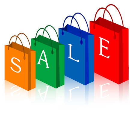 Vector illustration of red, green, blue and orange sale shopping bags. Vector