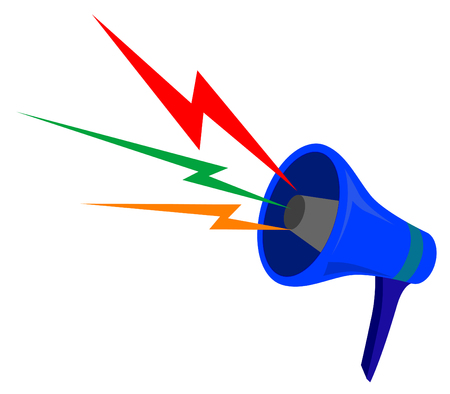 Vector illustration of megaphone with color waves Vector
