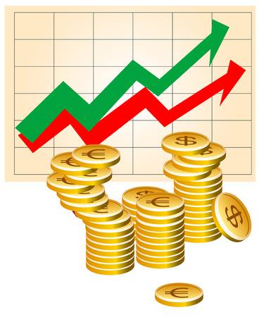 risico analyse: Vector illustratie van zakelijke grafiek met munten