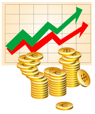 sucess: Vector illustration of business graph with coins Illustration
