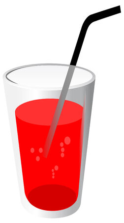 Vector illustration of red drink with pipe Stock Vector - 3920208