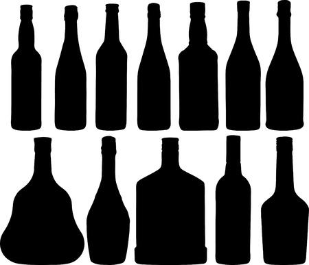 wijn en spijzen: Abstract vector illustratie van de verschillende flessen