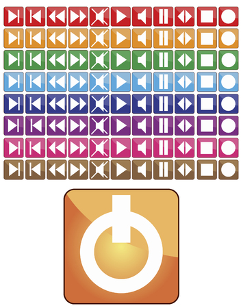 Abstract vector different color set media buttons Vector