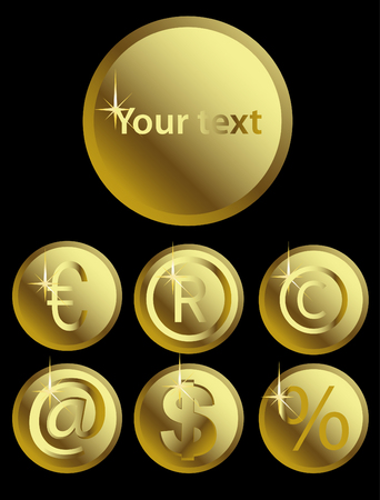 Vector illustration of shining gold signs on black Vector