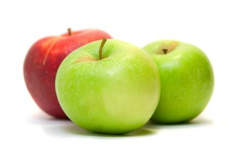Ripe apples fruit isolated on white background photo