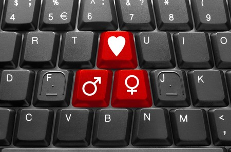 Close-up of Computer keyboard,  with red Love key photo