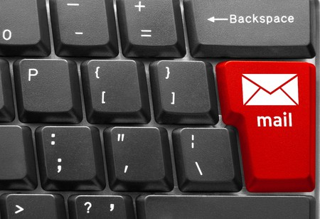 Close-up of Computer keyboard,  with red Mail key photo