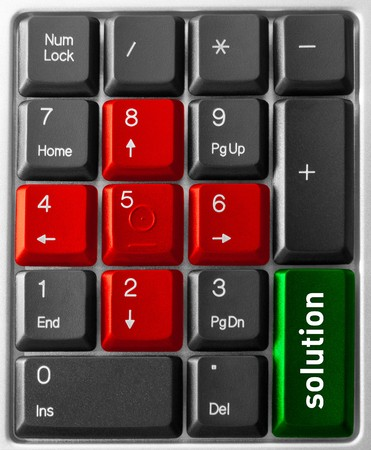 Close-up of Computer keyboard,  with  Solution key photo