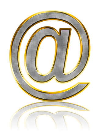 Abstract bling e-mail symbol on white with reflection photo