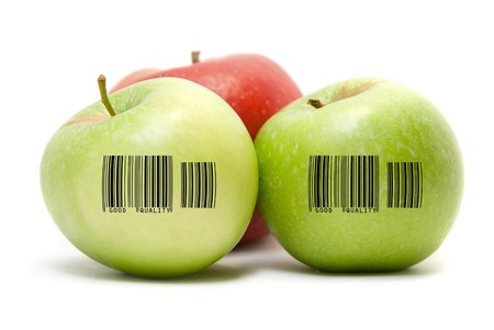 Ripe apples fruit with barcode isolated on white background Stock Photo - 4137189