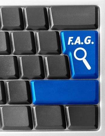 Close-up of Computer keyboard with FAQ key photo